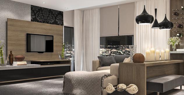 Ambientes planejados linda sala de estar decorada